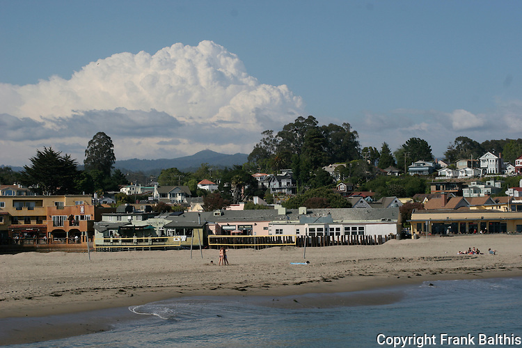 Capitola with thunderstorm over the Santa Cruz Mountains