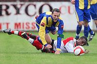 Paul Clayton of Romford takes a tumble - Romford vs Beaconsfield SYCOB - FA Cup Preliminary Round Football at Mill Field, Aveley FC - 29/08/10 - MANDATORY CREDIT: Gavin Ellis/TGSPHOTO - SELF-BILLING APPLIES WHERE APPROPRIATE. NO UNPAID USE. TEL: 0845 094 6026