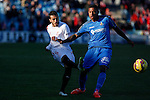 Getafe´s Sammir (R) and Sevilla´s Diego during 2014-15 La Liga match at Alfonso Perez Coliseum stadium in Getafe, Spain. February 08, 2015. (ALTERPHOTOS/Victor Blanco)