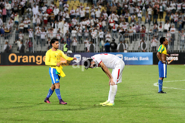 Zamalek's players react after losing the CAF Champions League football competition following the second round of the final match against South Africa's Mamelodi Sundowns on October 23, 2016 at the Borg el-Arab Stadium near Alexandria. Photo by Stringer