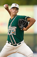 Relief pitcher Steve Cishek (34) of the Greensboro Grasshoppers in action at Fieldcrest Cannon Stadium in Kannapolis, NC, Saturday August 24, 2008. (Photo by Brian Westerholt / Four Seam Images)