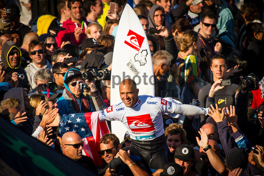 LA GRAVIERE, Hossegor/France (Friday, October 5, 2012) -  Kelly Slater (USA), 40, reigning 11-time ASP World Champion, claimed his 51st elite tour victory today, besting celebrated wildcard Dane Reynolds (USA), 27, in a hard-fought Final to take out the Quiksilver Pro France...Event No. 7 of 10 on the 2012 ASP WCT, the Quiksilver Pro France culminated in dramatic fashion this morning with the primary venue of La Graviere serving up clean three-to-five foot (1 - 1.5 metre) barrels for a star-studded Final Four...With conditions slowing, Slater wasted little time in the Final, collecting a 7.93 and a 9.33 in the opening 10 minutes for impressive tube rides on his forehand. While Reynolds would battle back with his own barrels and aerial attempts, it would not prove enough in the end allowing Slater to collect his first French victory in two decades...Today marks Slater's third win of the 2012 season (Fiji, Trestles, France) and vaults him up to 2nd on the ASP WCT rankings, well within striking distance of ASP World Title No. 12 with three events remaining this year..Reynolds was a standout from the opening round of the Quiksilver Pro France, consistently posting high scores and wowing the masses with his tube-riding prowess. Unfortunately for Reynolds, conditions did not cooperate in the Final against Slater.. Photo: joliphotos.com