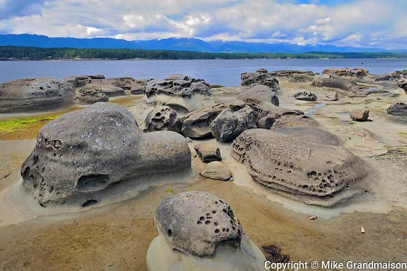 Rocky shoreline<br /> Hornby Island in the Gulf Islands<br /> British Columbia<br /> Canada
