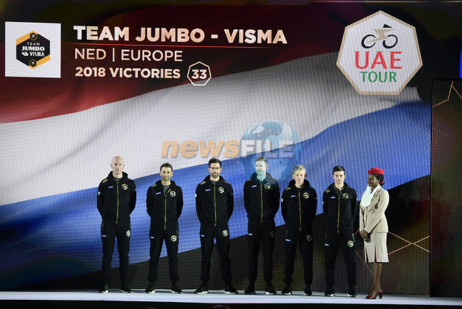 Team Jumbo-Visma on stage at the inaugural UAE Tour 2019 opening ceremony and team presentation held in the Louvre Abu Dhabi, United Arab Emirates. 23rd February 2019.<br /> Picture: LaPresse/Fabio Ferrari | Cyclefile<br /> <br /> <br /> All photos usage must carry mandatory copyright credit (© Cyclefile | LaPresse/Fabio Ferrari)