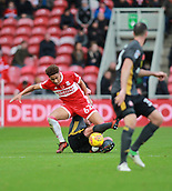 5th November 2017, Riverside Stadium, Middlesbrough, England; EFL Championship football, Middlesbrough versus Sunderland; Marcus Tavernier of Middlesbrough feels the weight of a foul by Lee Cattermole of Sunderland for which Cattermole was booked in the 44th minute