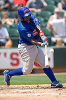 Iowa Cubs 3B Marquez Smith (21) swings against the Round Rock Express on April 10th, 2011 at Dell Diamond in Round Rock, Texas.  (Photo by Andrew Woolley / Four Seam Images)