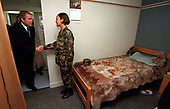 United States President George W. Bush visits a soldier in her barracks at Fort Stewart, Georgia on February 12, 2001. President Bush visited several military bases last week to reaffirm his commitment to improve living conditions for the people who serve in America's armed forces. <br /> Mandatory Credit: Paul Morse / White House via CNP