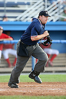 August 7 2008:  Home plate umpire Matt Jones gets into position during a game at Dwyer Stadium in Batavia, NY.  Photo by:  Mike Janes/Four Seam Images