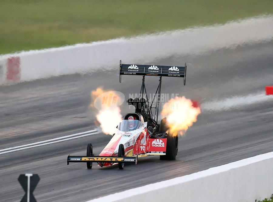 May 18, 2018; Topeka, KS, USA; NHRA top fuel driver Doug Kalitta during qualifying for the Heartland Nationals at Heartland Motorsports Park. Mandatory Credit: Mark J. Rebilas-USA TODAY Sports