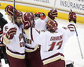 Paul Carey (BC - 22), Ben Smith (BC - 12), Brian Gibbons (BC - 17) - The Boston College Eagles defeated the Northeastern University Huskies 5-1 on Saturday, November 7, 2009, at Conte Forum in Chestnut Hill, Massachusetts.
