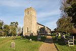 Village parish church and graveyard, Saint John the Baptist, Badingham, Suffolk, England, UK