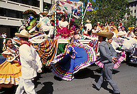 DANCING AT CINCO DE MAYO FESTIVAL. HISPANIC DANCERS. SAN JOSE CALIFORNIA USA.