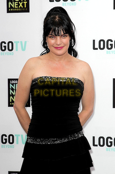 Pauley Perrette.2013 NewNowNext Awards held at The Fonda Theatre, Los Angeles, California, USA, 13th April 2013..half length strapless dress black ruffles .CAP/ADM/KB.©Kevan Brooks/AdMedia/Capital Pictures