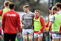 Tom Savage and Callum Braley of Gloucester Rugby look on in a huddle. Gallagher Premiership match, between Harlequins and Gloucester Rugby on March 10, 2019 at the Twickenham Stoop in London, England. Photo by: Patrick Khachfe / JMP