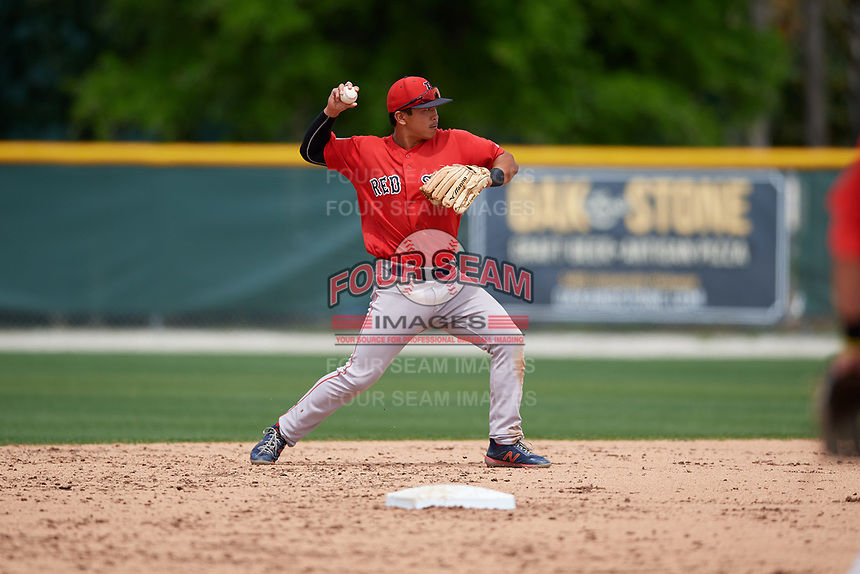 Boston Red Sox Tanner Nishioka (47) throws to first base during a Minor League Spring Training game against the Baltimore Orioles on March 20, 2019 at the Buck O'Neil Baseball Complex in Sarasota, Florida.  (Mike Janes/Four Seam Images)