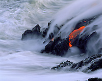 Lava flow close up to the sea from Kilauea Volcano, Big Island of Hawaii