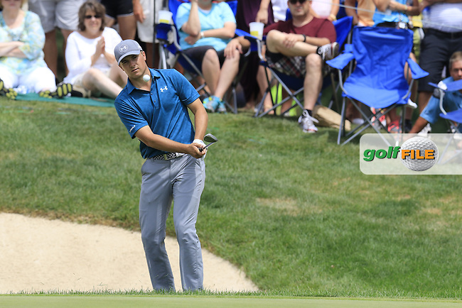 Jordan Spieth (USA) chips onto the 7th green during Sunday's Final Round of the 2015 Bridgestone Invitational World Golf Championship held at the Firestone Country Club, Akron, Ohio, United States of America. 9/08/2015.<br /> Picture Eoin Clarke, www.golffile.ie