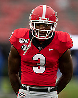 ATHENS, GA - OCTOBER 19: Zamir White #3 of the Georgia Bulldogs during a game between University of Kentucky Wildcats and University of Georgia Bulldogs at Sanford Stadium on October 19, 2019 in Athens, Georgia.