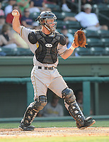 August 17, 2008: Eric Freyer of the West Virginia Power, Class A affiliate of the Milwaukee Brewers, in a game against the Greenville Drive at Fluor Field at the West End in Greenville, S.C. Photo by:  Tom Priddy/Four Seam Images