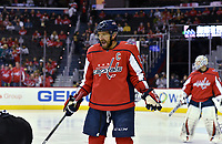 WASHINGTON, DC - FEBRUARY 05: Washington Capitals left wing Alex Ovechkin (8) reacts to a call during the Vancouver Canucks vs. the Washington Capitals NHL game at Capital One Arena in Washington, D.C.. (Photo by Randy Litzinger/Icon Sportswire)