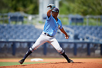 Tampa Bay Rays pitcher Steffon Moore (67) delivers a pitch during a Florida Instructional League game against the Baltimore Orioles on October 1, 2018 at the Charlotte Sports Park in Port Charlotte, Florida.  (Mike Janes/Four Seam Images)