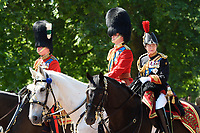 Prince Charles, Prince William and Princess Anne<br /> during Trooping the Colour on The Mall, London. <br /> <br /> <br /> &copy;Ash Knotek  D3283  17/06/2017
