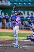 Javier Guevara (6) of the Grand Junction Rockies bats in front of catcher Tre Todd (11) during a game against the Ogden Raptors at Lindquist Field on September 7, 2018 in Ogden, Utah. The Rockies defeated the Raptors 8-5. (Stephen Smith/Four Seam Images)