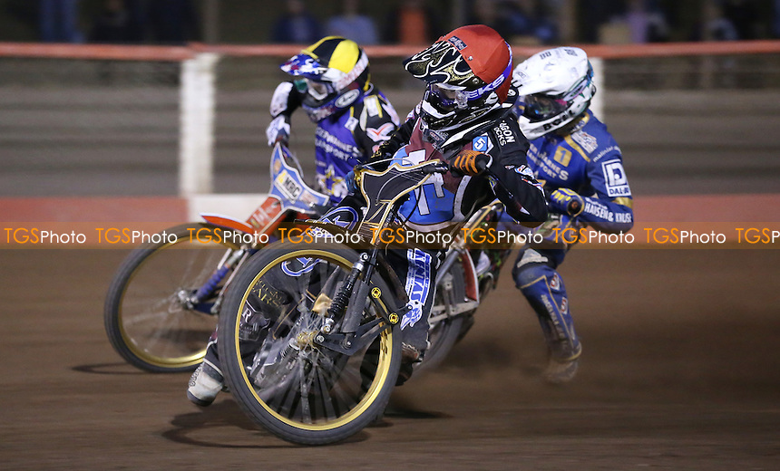 heat 15: Kim Nilsson (red), Niels Kristian Iversen (white) and Robert Lambert (yellow) - Lakeside Hammers vs Kings Lynn Stars, Elite League Speedway at the Arena Essex Raceway, Pufleet - 19/06/15 - MANDATORY CREDIT: Rob Newell/TGSPHOTO - Self billing applies where appropriate - 0845 094 6026 - contact@tgsphoto.co.uk - NO UNPAID USE