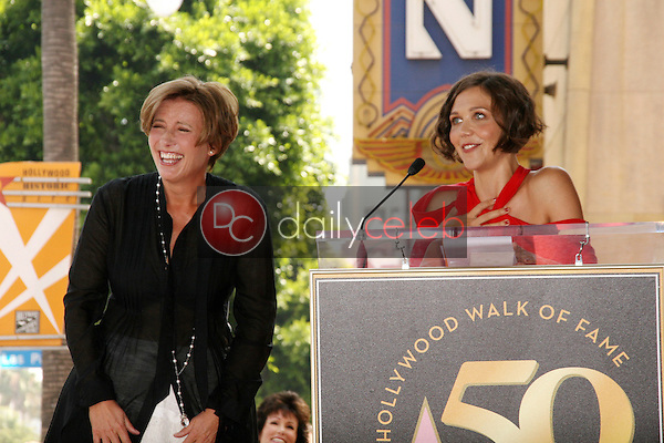 Emma Thompson and Maggie Gyllenhaal<br /> at the induction ceremony for Emma Thompson into the Hollywood Walk of Fame, Hollywood, CA. 08-06-10<br /> David Edwards/DailyCeleb.com 818-249-4998