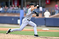 Augusta GreenJackets pitcher Preston White (31) delivers a pitch during a game against the Asheville Tourists at McCormick Field on April 7, 2019 in Asheville, North Carolina. The GreenJackets  defeated the Tourists 11-2. (Tony Farlow/Four Seam Images)