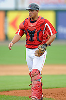 Lowell Spinners catcher Miguel Rodriguez #21 during a game versus the Hudson Valley Renegades at LeLacheur Park in Lowell, Massachusetts on August 18, 2013.  (Ken Babbitt/Four Seam Images)