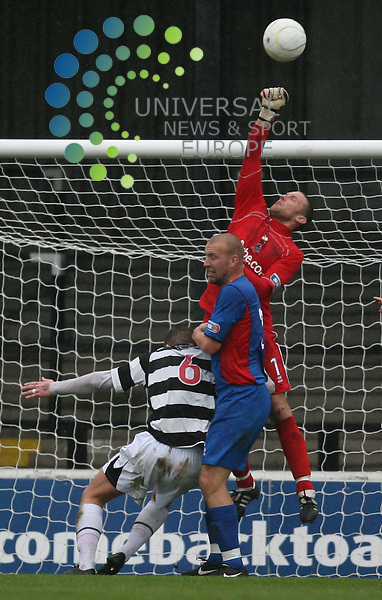 Cally keeper Ryan Esson punches clear in this Ayr attack during the Irn-Bru First Division match between Ayr Utd and Inverness CT at Somerset Park 24/10/09..Picture by Ricky Rae/universal News & Sport (Scotland).