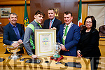 Pictured are the Kerry Minor Team and management, who were were awarded at Kerry County Council Buildings, Rathass, Tralee, on Friday evening last, l-r: Peter Keane (Manager), David Clifford (Captain), Tim Murphy (County Chairman), Mayor John Sheahan and Moira Murrell (Kerry County Council).