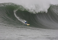 Brock Little surfs a wave at the 2008 Mavericks Surf Contest in Half Moon Bay, Calif., Saturday, January 12, 2008.