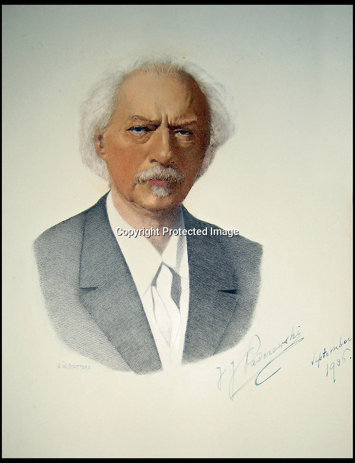 BNPS.co.uk (01202) 558833<br /> Picture: Alex Statters<br /> <br /> Ignace Paderewski, Polish President and concert pianist - 1936<br /> <br /> A collection of portraits by an amateur artist who sent his paintings to famous subjects for them to sign has been unearthed. Self-taught Alex Statters spent nearly 40 years at his hobby, painting the great and important figures from photographs then trying to get them signed. The painter often had to wait as long as a year to get a reply. Statters was born in the early 1890s and after a working life in Newcastle settled in Southport, Merseyside. It is thought he died in the early 1960s. The collection has passed down through his family to his grandchildren who until recently were only aware of a few of the portraits that were hung in the family home.
