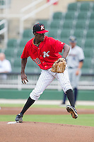 Kannapolis Intimidators starting pitcher Robinson Leyer (20) in action against the Charleston RiverDogs at CMC-NorthEast Stadium on June 28, 2014 in Kannapolis, North Carolina.  The Intimidators defeated the RiverDogs 4-3. (Brian Westerholt/Four Seam Images)