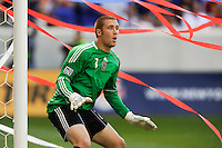 Philadelphia Union goalkeeper Chris Seitz (1) with streamers in the background. The New York Red Bulls defeated the Philadelphia Union 2-1 during a Major League Soccer (MLS) match at Red Bull Arena in Harrison, NJ, on April 24, 2010.