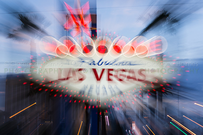 "The iconic ""Welcome to Fabulous Las Vegas"" neon sign greets visitors to Las Vegas traveling north on the Las Vegas strip."