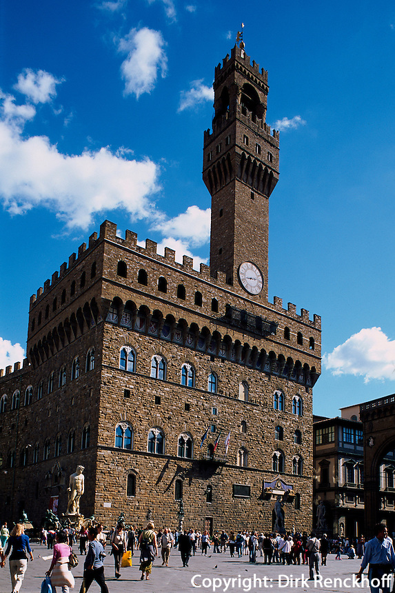 Italien, Toskana, Florenz, Palazzo Vecchio an der Piazza della Signoria, Unesco-Weltkulturerbe