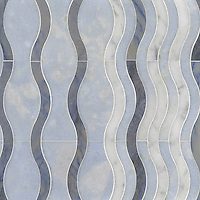 Ava, a stone water jet mosaic, shown in Carrara, Blue Macauba, and Celeste, is part of the Ann Sacks Beau Monde collection sold exclusively at www.annsacks.com