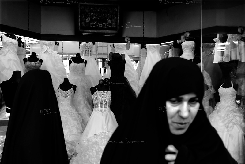 Teheran, Iran, April 12, 2007.A wedding dress shop on Ferdosi avenue..