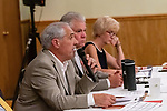 WATERBURY, CT. 17 July 2019-071719 - Waterbury Republican Town Committee Chairman Bill DeMaida, left, calls the meeting to order as committee members, Joe Bannon, and Allyn DeMaida look on, during a Waterbury Republican Town Committee meeting of picking its slate of candidates for this years elections at the Ancient Order of Hibernians Club in Waterbury on Wednesday. Bill Shettle Republican-American
