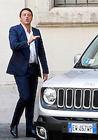 Il Presidente del Consiglio Matteo Renzi durante la presentazione della nuova autovettura Fiat Jeep Renegade, a Palazzo Chigi, Roma, 25 luglio 2014.<br /> Italian Premier Matteo Renzi attends the presentation of the new Fiat's Jeep Renegade model car, at Chigi Palace, Rome, 25 July 2014.<br /> UPDATE IMAGES PRESS/Riccardo De Luca