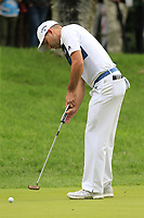 Sergio Garcia (ESP) putts on the 1st green during Sunday's storm delayed Final Round 3 of the Andalucia Valderrama Masters 2018 hosted by the Sergio Foundation, held at Real Golf de Valderrama, Sotogrande, San Roque, Spain. 21st October 2018.<br /> Picture: Eoin Clarke | Golffile<br /> <br /> <br /> All photos usage must carry mandatory copyright credit (&copy; Golffile | Eoin Clarke)