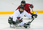PyeongChang 8/3/2018 - James Dunn, of Wallacetown, ON, as Canada's sledge hockey team practices ahead of the start of competition at the Gangneung practice venue during the 2018 Winter Paralympic Games in Pyeongchang, Korea. Photo: Dave Holland/Canadian Paralympic Committee