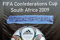 A large replica of the official matchball on display outside the stadium before the game. Iraq and New Zealand tied 0-0 during the FIFA Confederations Cup at Ellis Park Stadium in Johannesburg, South Africa on June 20, 2009..
