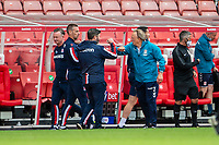 27th June 2020; Bet365 Stadium, Stoke, Staffordshire, England; English Championship Football, Stoke City versus Middlesbrough; Newly appointed Middlesborough Manager Neil Warnock wrist bumbs the Stoke bench at the end of the match