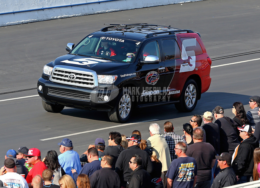 Feb 8, 2014; Pomona, CA, USA; The Toyota tow vehicle for NHRA funny car driver Cruz Pedregon during qualifying for the Winternationals at Auto Club Raceway at Pomona. Mandatory Credit: Mark J. Rebilas-
