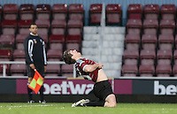 Danny-Boy Hatchard (Lee Carter in Eastenders) celebrates scoring as West Ham United supporters say farewell to the Boleyn ground playing a friendly match on the pitch at the Boleyn Ground, London, England on 20 May 2016. Photo by Andy Rowland.