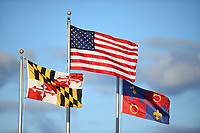 Boyds, MD - Saturday September 30, 2017: The flags of Maryland, the United States and Montgomery County Maryland during a regular season National Women's Soccer League (NWSL) match between the Washington Spirit and the Seattle Reign FC at Maureen Hendricks Field, Maryland SoccerPlex.